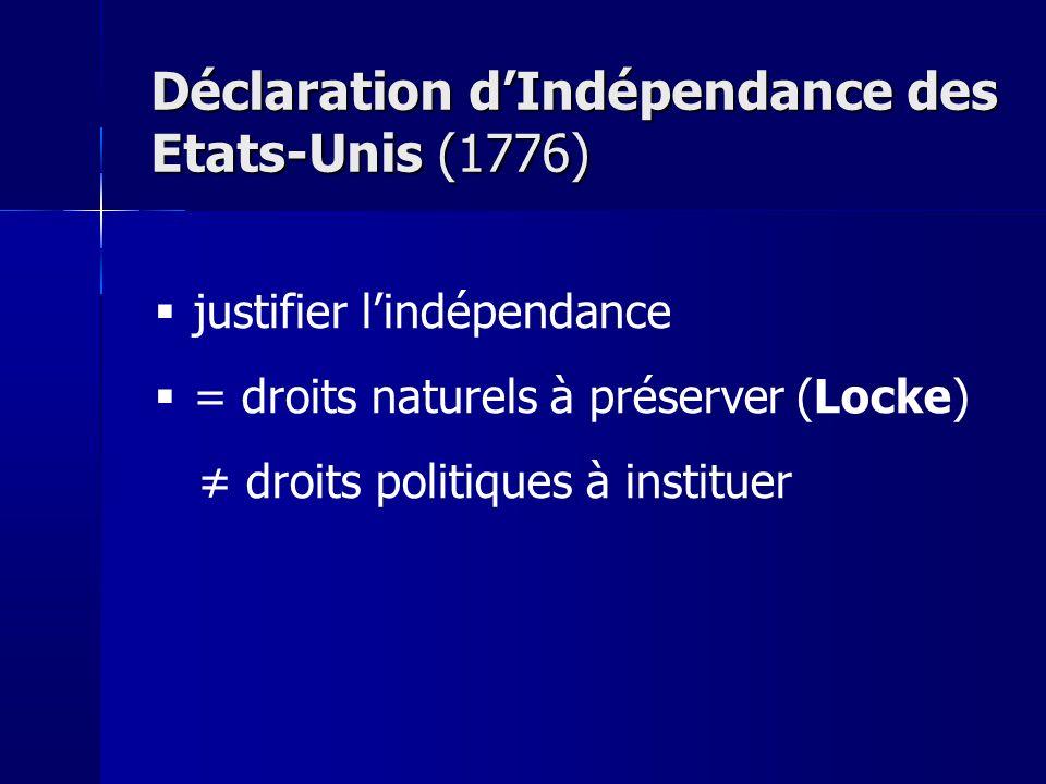 Déclaration dIndépendance des Etats-Unis (1776) justifier lindépendance = droits naturels à préserver (Locke) droits politiques à instituer