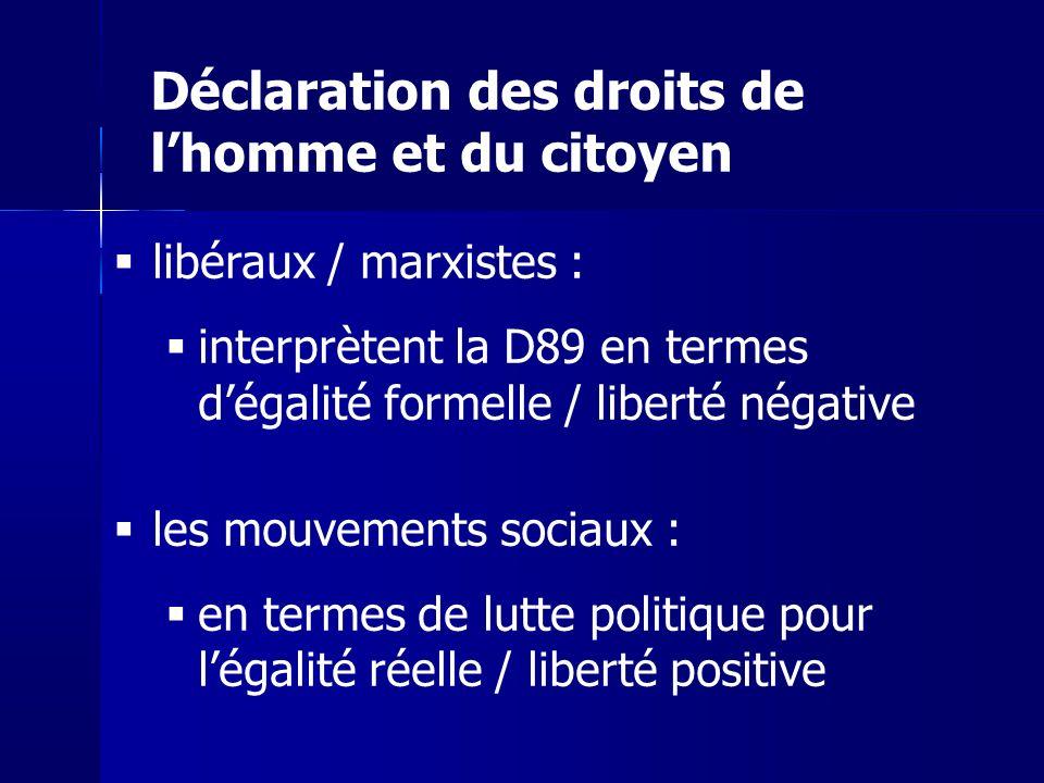 libéraux / marxistes : interprètent la D89 en termes dégalité formelle / liberté négative les mouvements sociaux : en termes de lutte politique pour légalité réelle / liberté positive Déclaration des droits de lhomme et du citoyen