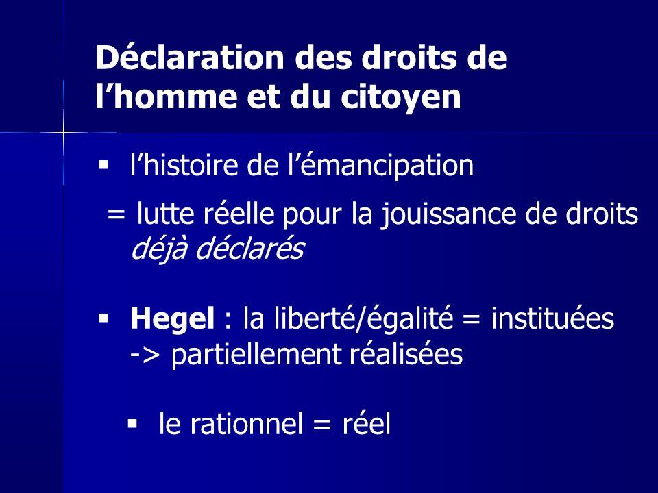 lhistoire de lémancipation = lutte réelle pour la jouissance de droits déjà déclarés Hegel : la liberté/égalité = instituées -> partiellement réalisée