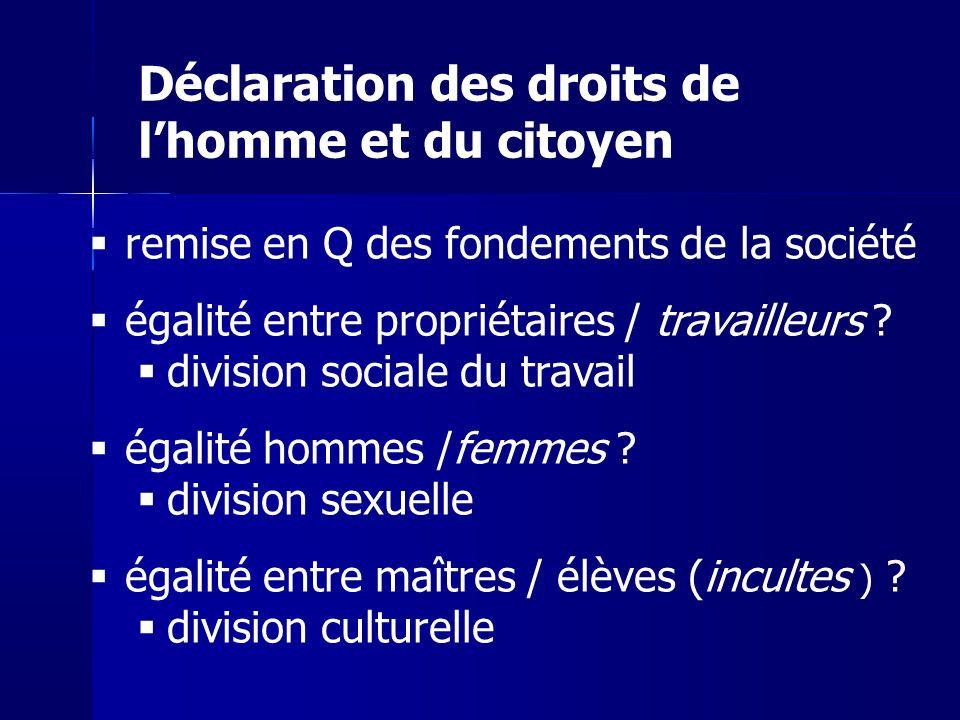 remise en Q des fondements de la société égalité entre propriétaires / travailleurs ? division sociale du travail égalité hommes /femmes ? division se