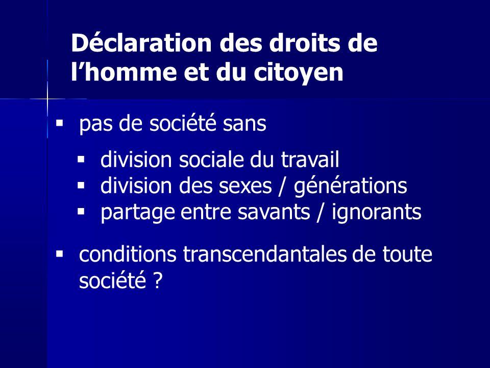 pas de société sans division sociale du travail division des sexes / générations partage entre savants / ignorants conditions transcendantales de toute société .