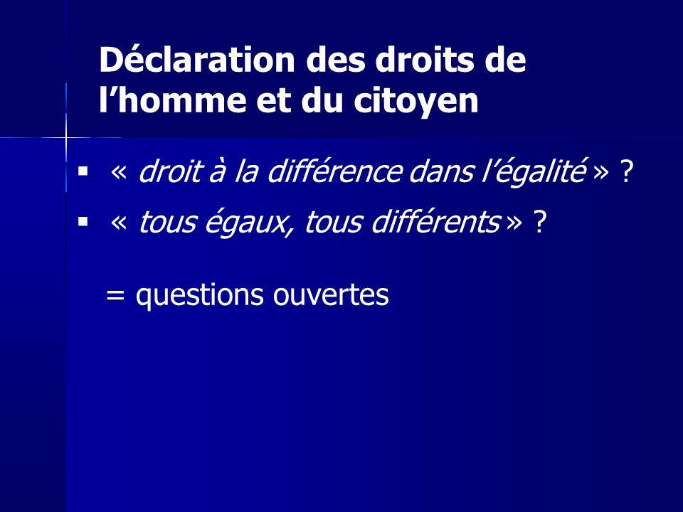 « droit à la différence dans légalité » ? « tous égaux, tous différents » ? = questions ouvertes Déclaration des droits de lhomme et du citoyen