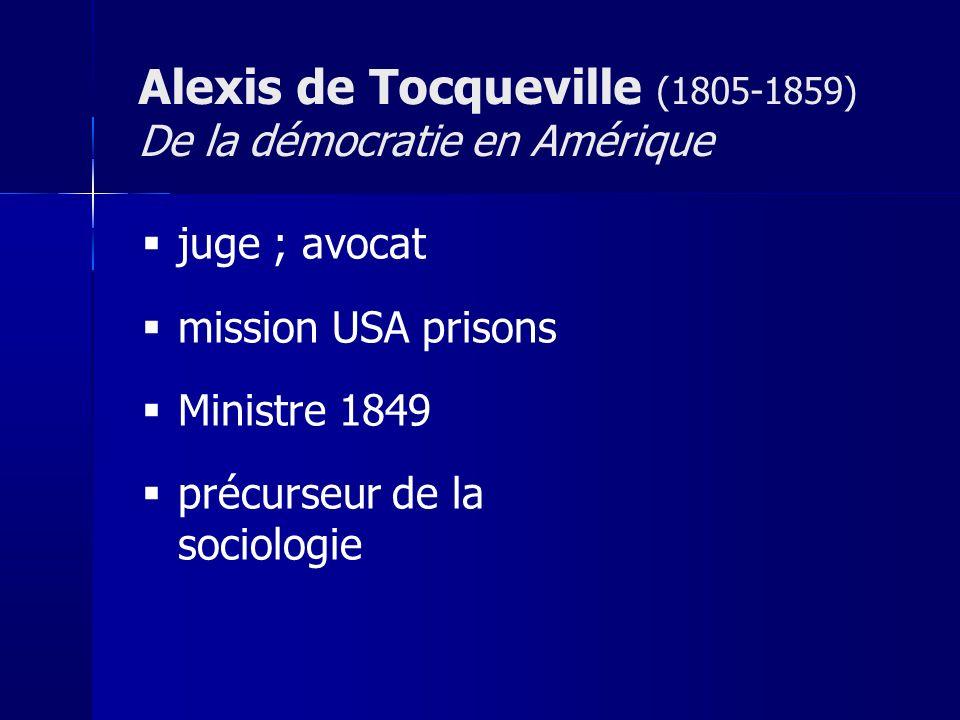 juge ; avocat mission USA prisons Ministre 1849 précurseur de la sociologie Alexis de Tocqueville (1805-1859) De la démocratie en Amérique