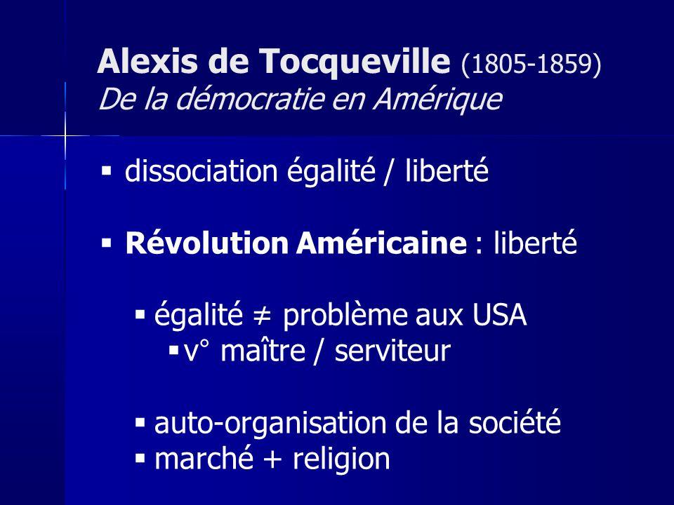 dissociation égalité / liberté Révolution Américaine : liberté égalité problème aux USA v° maître / serviteur auto-organisation de la société marché + religion Alexis de Tocqueville (1805-1859) De la démocratie en Amérique