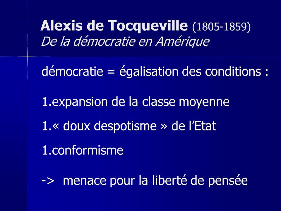 démocratie = égalisation des conditions : 1.expansion de la classe moyenne 1.« doux despotisme » de lEtat 1.conformisme -> menace pour la liberté de p