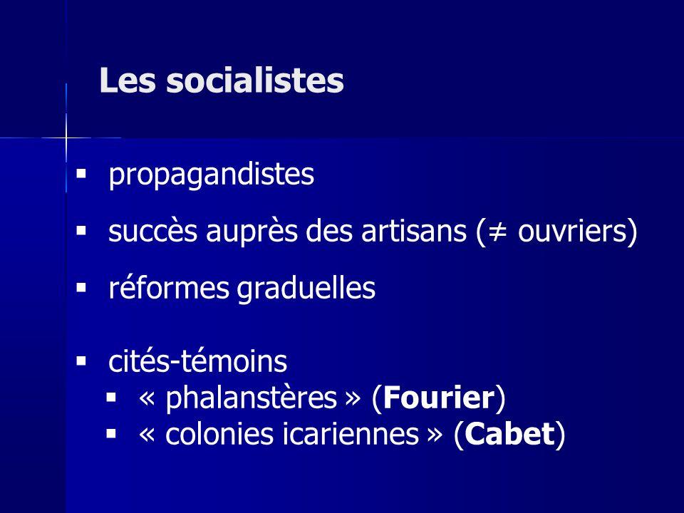 propagandistes succès auprès des artisans ( ouvriers) réformes graduelles cités-témoins « phalanstères » (Fourier) « colonies icariennes » (Cabet) Les socialistes