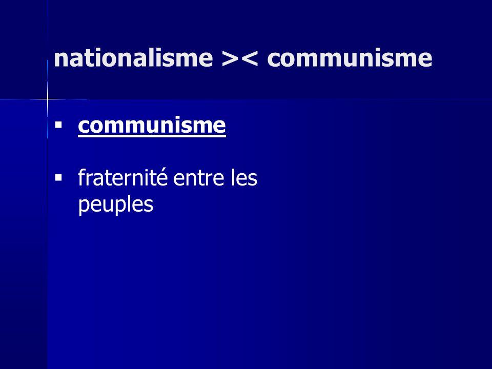 communisme fraternité entre les peuples nationalisme >< communisme