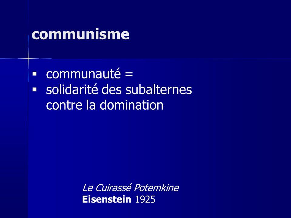 communauté = solidarité des subalternes contre la domination communisme Le Cuirassé Potemkine Eisenstein 1925