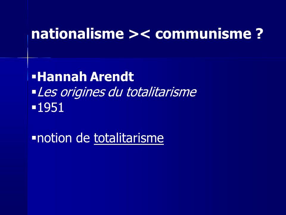 Hannah Arendt Les origines du totalitarisme 1951 notion de totalitarisme nationalisme >< communisme ?