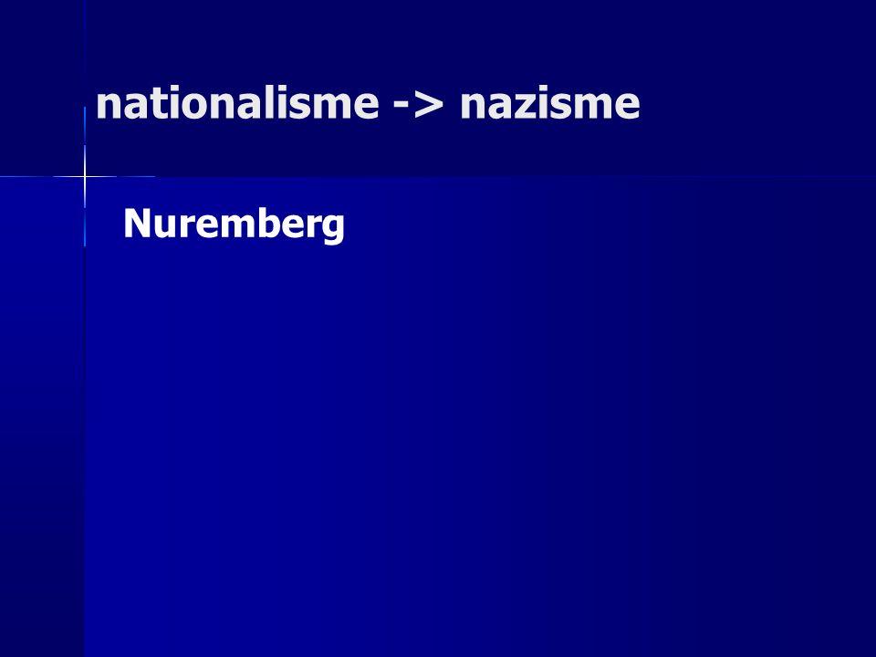 nationalisme -> nazisme Nuremberg