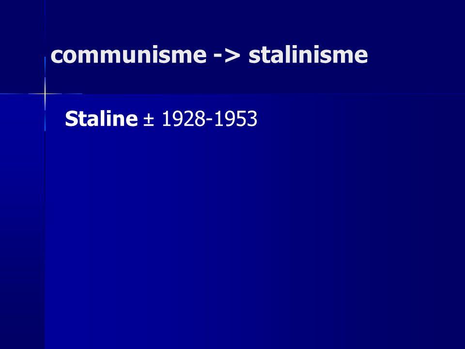 communisme -> stalinisme Staline ± 1928-1953