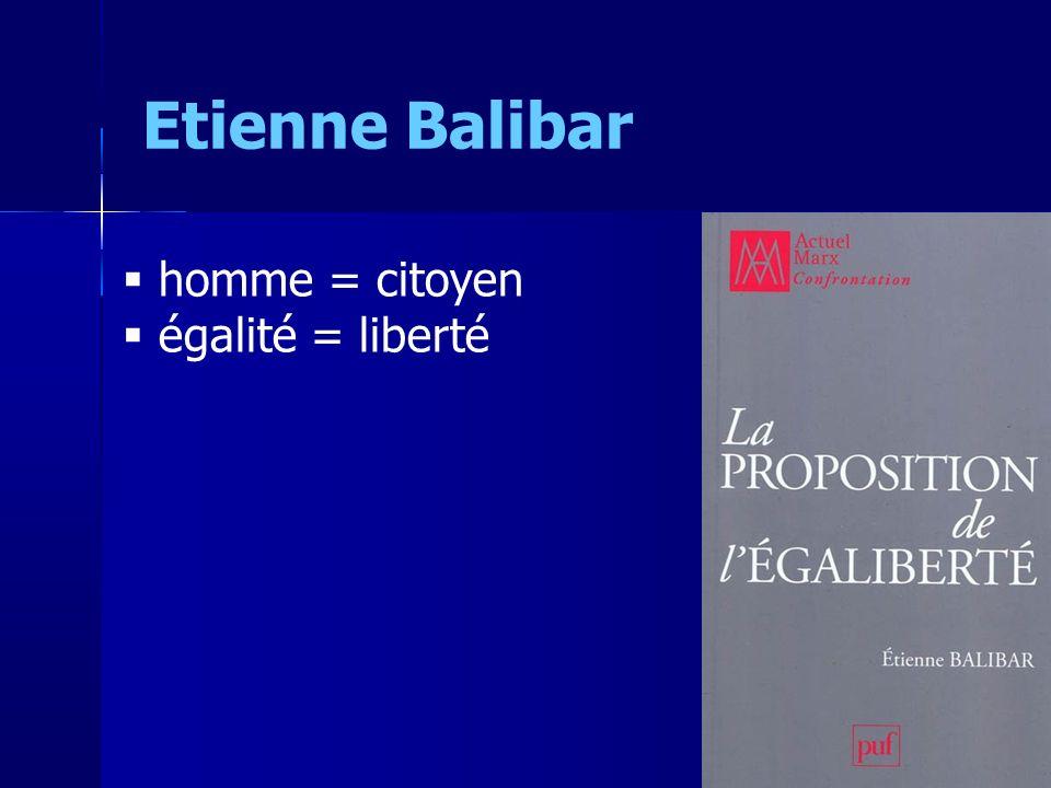homme = citoyen égalité = liberté Etienne Balibar 6