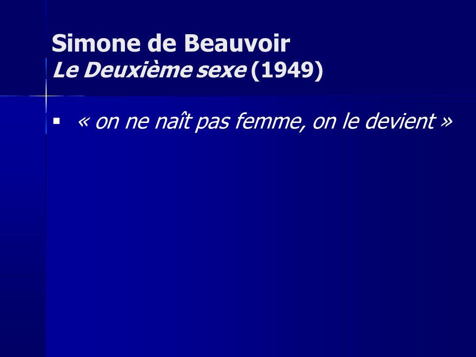 « on ne naît pas femme, on le devient » Simone de Beauvoir Le Deuxième sexe (1949)