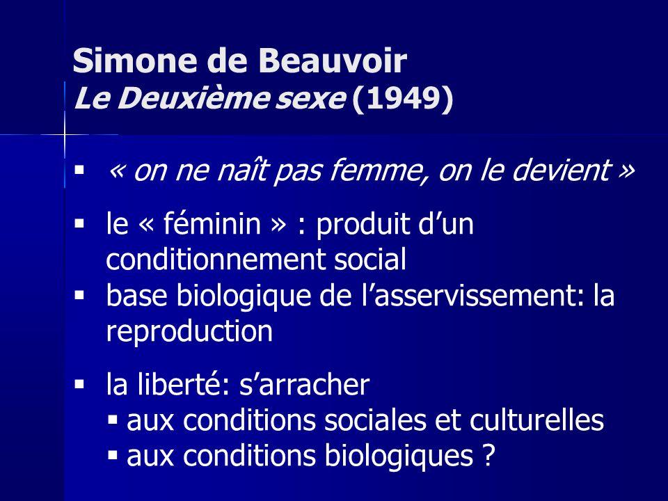 « on ne naît pas femme, on le devient » le « féminin » : produit dun conditionnement social base biologique de lasservissement: la reproduction la liberté: sarracher aux conditions sociales et culturelles aux conditions biologiques .