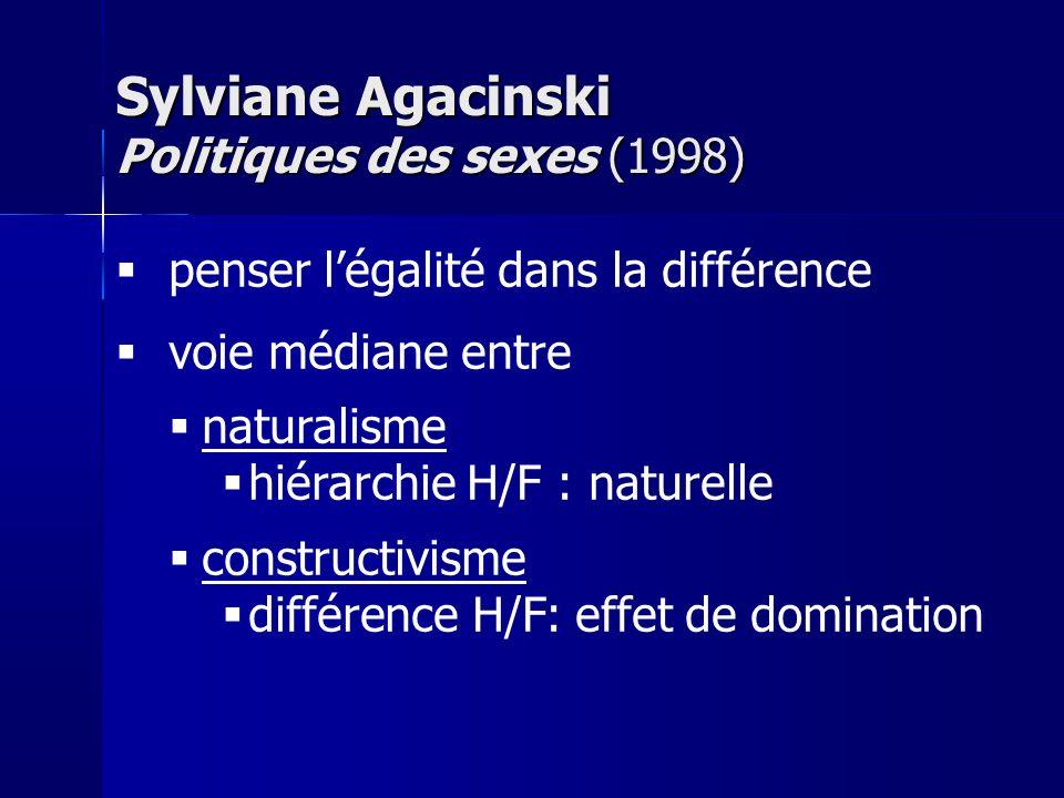 penser légalité dans la différence voie médiane entre naturalisme hiérarchie H/F : naturelle constructivisme différence H/F: effet de domination Sylviane Agacinski Politiques des sexes (1998)