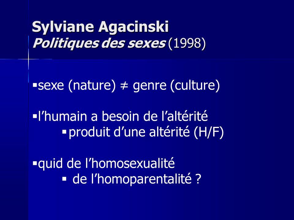 sexe (nature) genre (culture) lhumain a besoin de laltérité produit dune altérité (H/F) quid de lhomosexualité de lhomoparentalité ? Sylviane Agacinsk