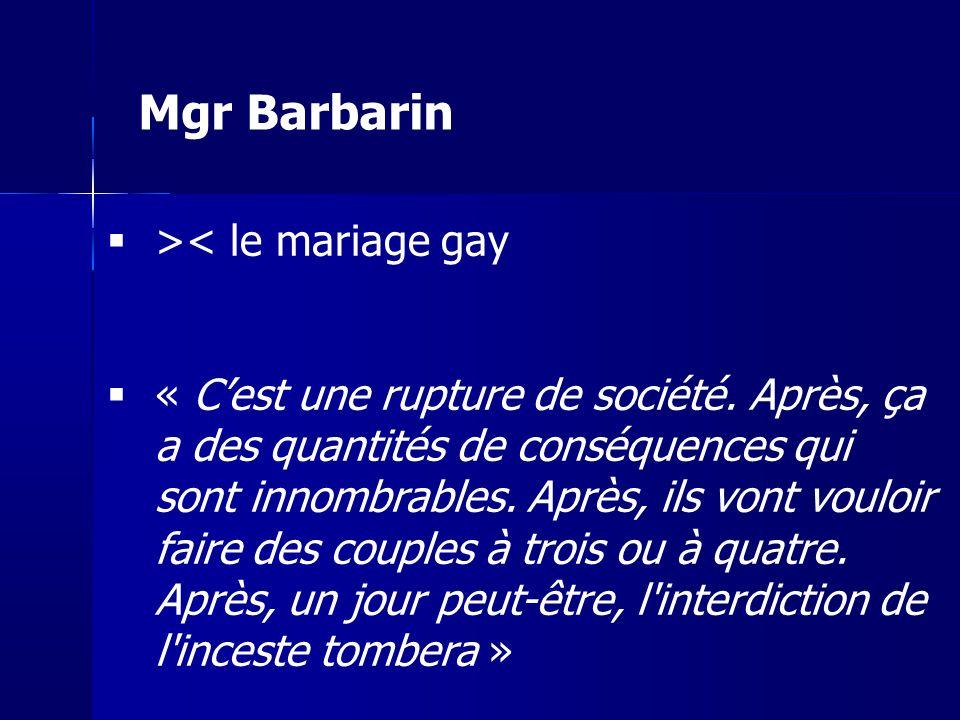 >< le mariage gay « Cest une rupture de société. Après, ça a des quantités de conséquences qui sont innombrables. Après, ils vont vouloir faire des co