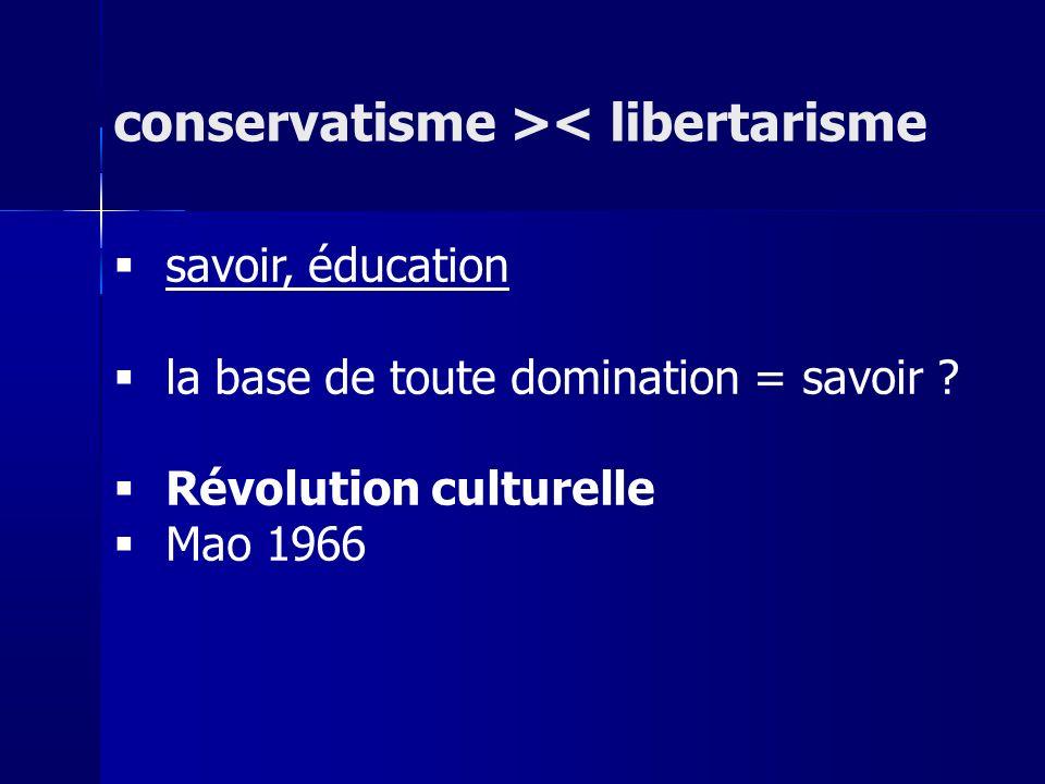 savoir, éducation la base de toute domination = savoir ? Révolution culturelle Mao 1966 conservatisme >< libertarisme