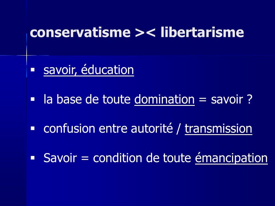 savoir, éducation la base de toute domination = savoir ? confusion entre autorité / transmission Savoir = condition de toute émancipation conservatism