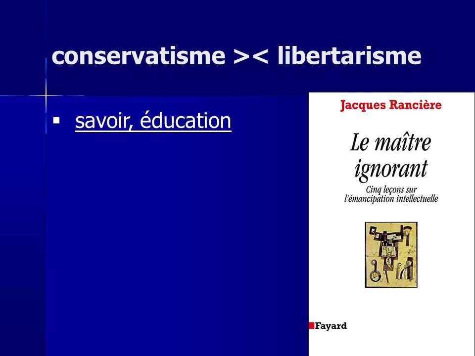 savoir, éducation conservatisme >< libertarisme