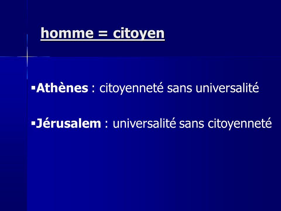 Athènes : citoyenneté sans universalité Jérusalem : universalité sans citoyenneté homme = citoyen