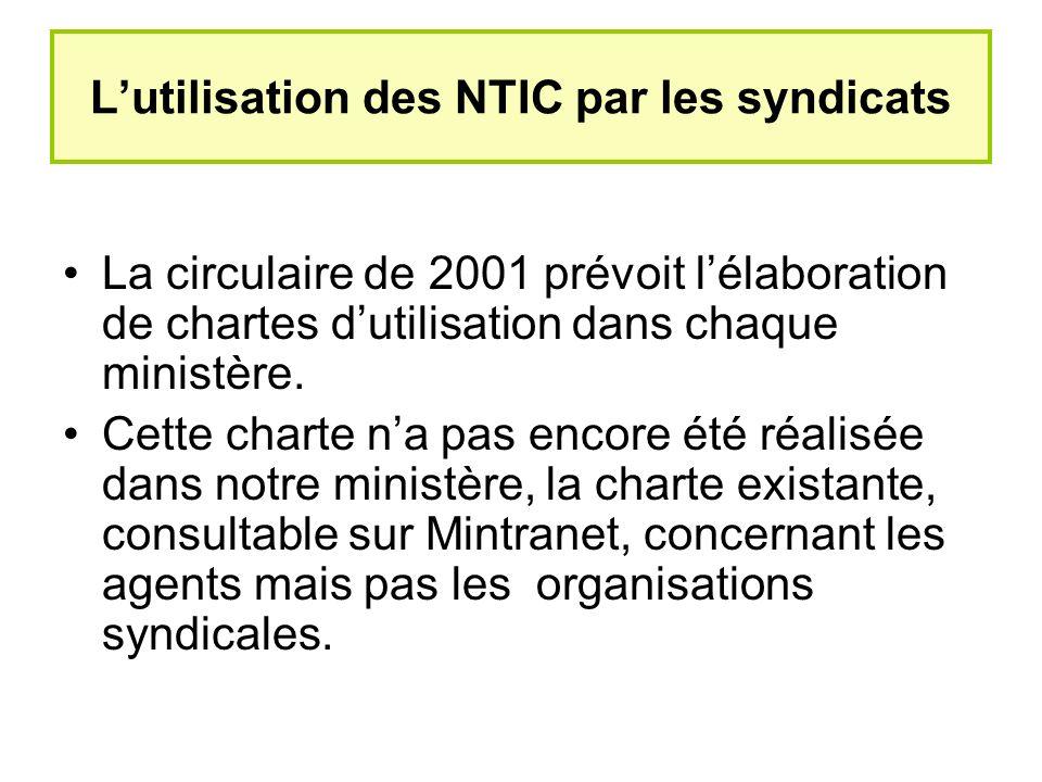 Lutilisation des NTIC par les syndicats La circulaire de 2001 prévoit lélaboration de chartes dutilisation dans chaque ministère.