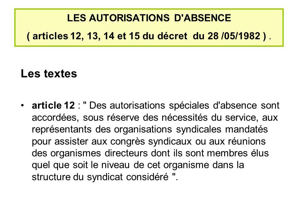 LES AUTORISATIONS D ABSENCE ( articles 12, 13, 14 et 15 du décret du 28 /05/1982 ).