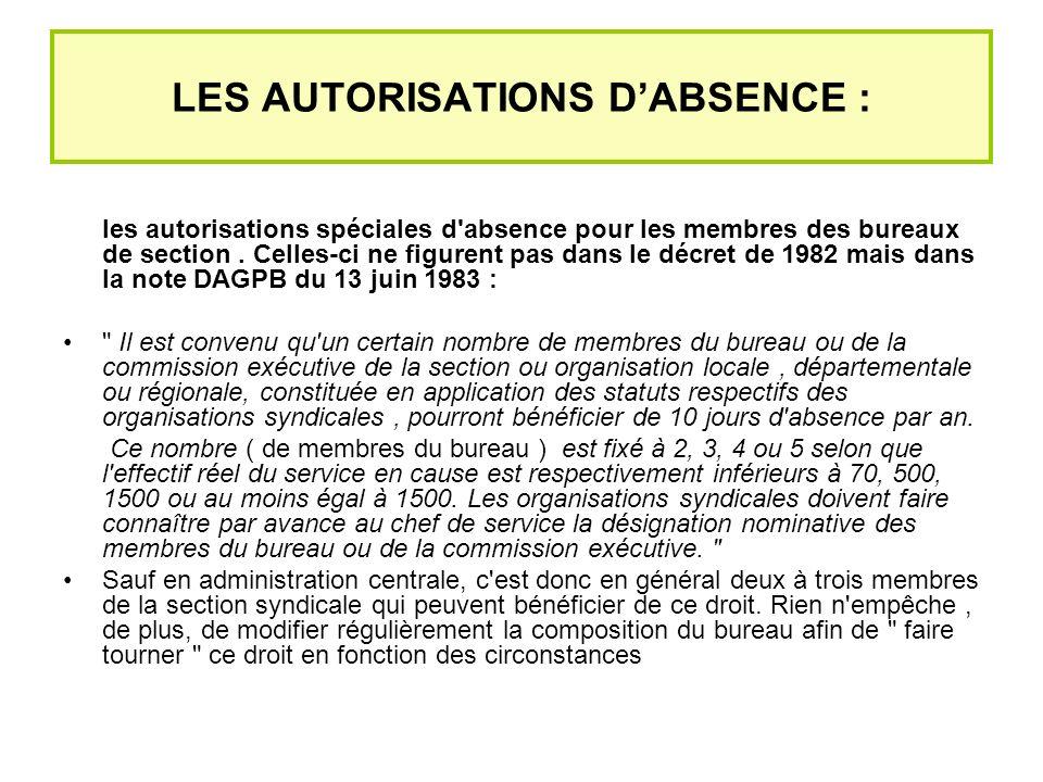 LES AUTORISATIONS DABSENCE : les autorisations spéciales d absence pour les membres des bureaux de section.