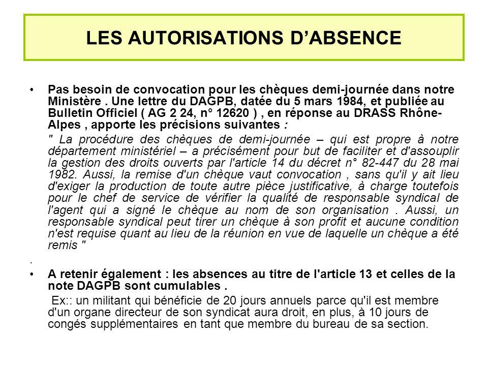 LES AUTORISATIONS DABSENCE Pas besoin de convocation pour les chèques demi-journée dans notre Ministère.
