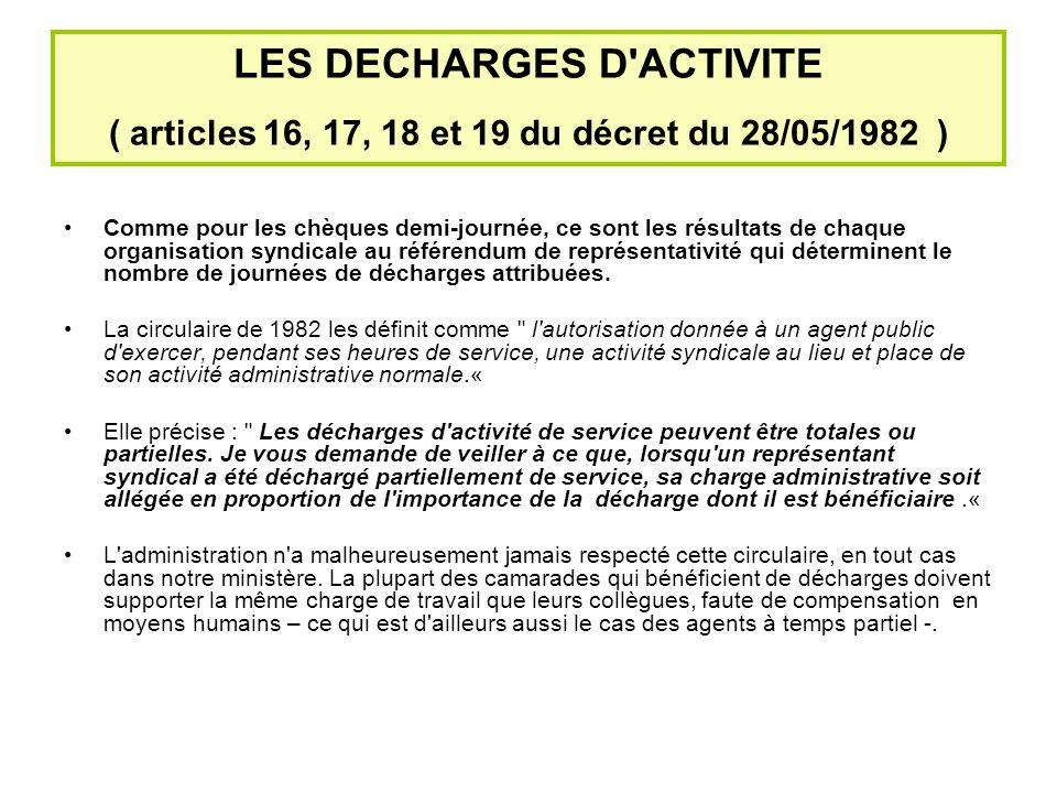 LES DECHARGES D ACTIVITE ( articles 16, 17, 18 et 19 du décret du 28/05/1982 ) Comme pour les chèques demi-journée, ce sont les résultats de chaque organisation syndicale au référendum de représentativité qui déterminent le nombre de journées de décharges attribuées.