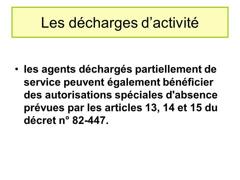 Les décharges dactivité les agents déchargés partiellement de service peuvent également bénéficier des autorisations spéciales d absence prévues par les articles 13, 14 et 15 du décret n° 82-447.