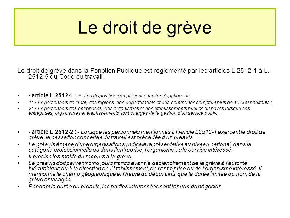 Le droit de grève Le droit de grève dans la Fonction Publique est réglementé par les articles L 2512-1 à L.