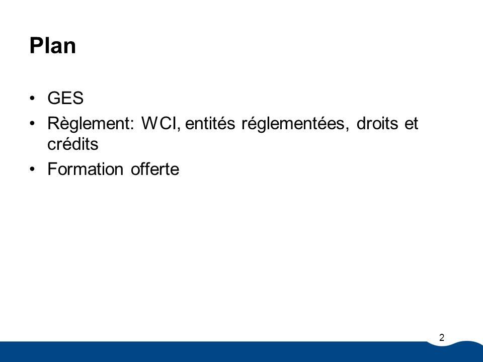 Plan GES Règlement: WCI, entités réglementées, droits et crédits Formation offerte 2