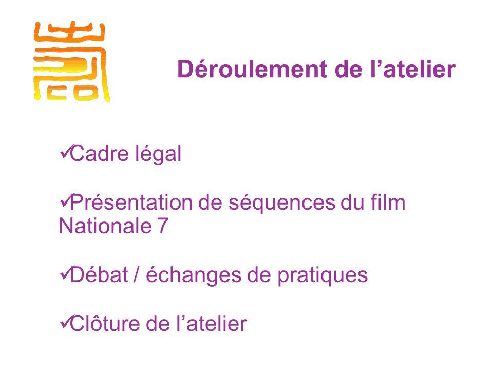 Déroulement de latelier Cadre légal Présentation de séquences du film Nationale 7 Débat / échanges de pratiques Clôture de latelier