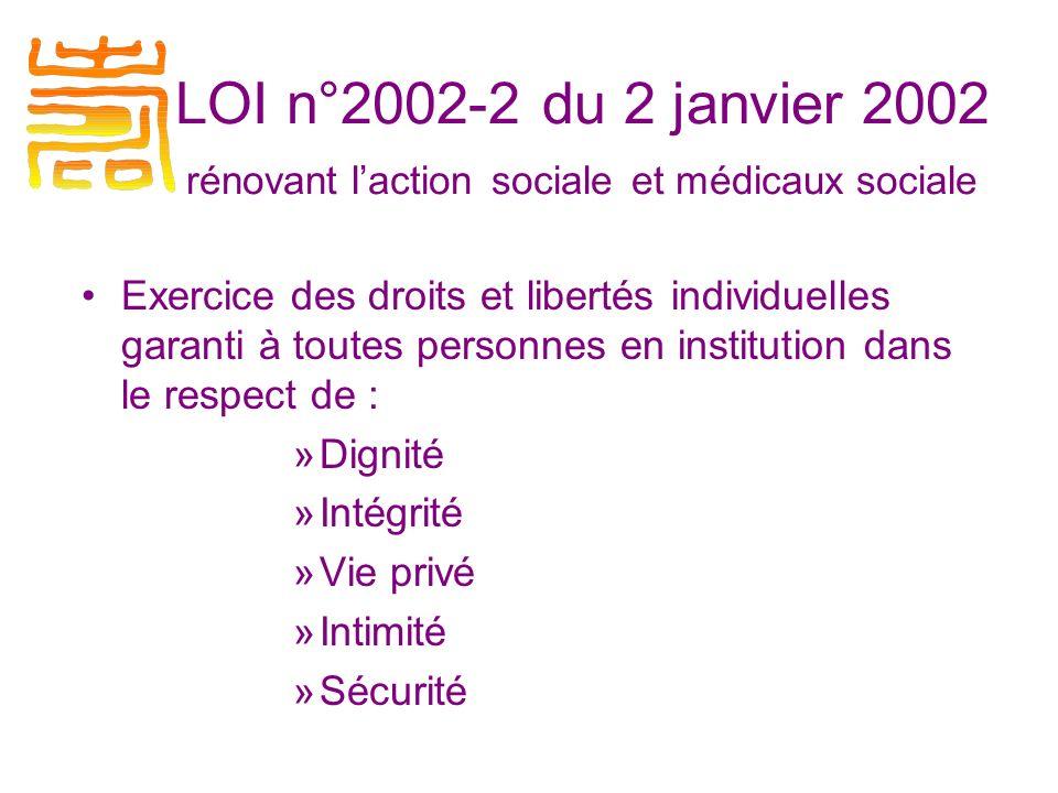 LOI n°2002-2 du 2 janvier 2002 rénovant laction sociale et médicaux sociale Exercice des droits et libertés individuelles garanti à toutes personnes en institution dans le respect de : »Dignité »Intégrité »Vie privé »Intimité »Sécurité