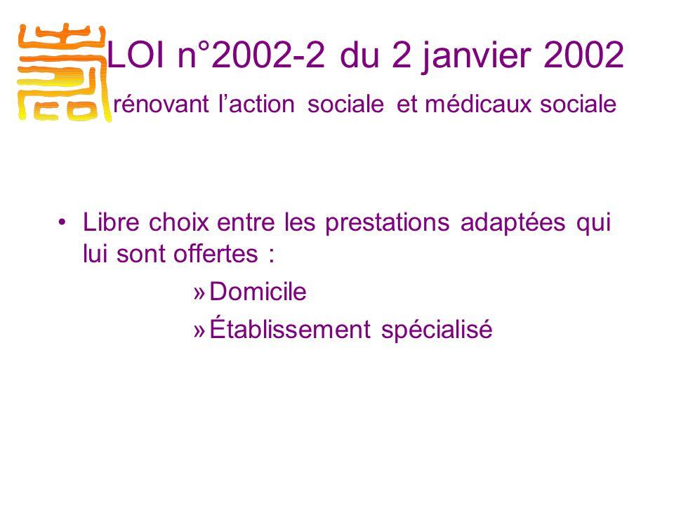 Libre choix entre les prestations adaptées qui lui sont offertes : »Domicile »Établissement spécialisé LOI n°2002-2 du 2 janvier 2002 rénovant laction sociale et médicaux sociale