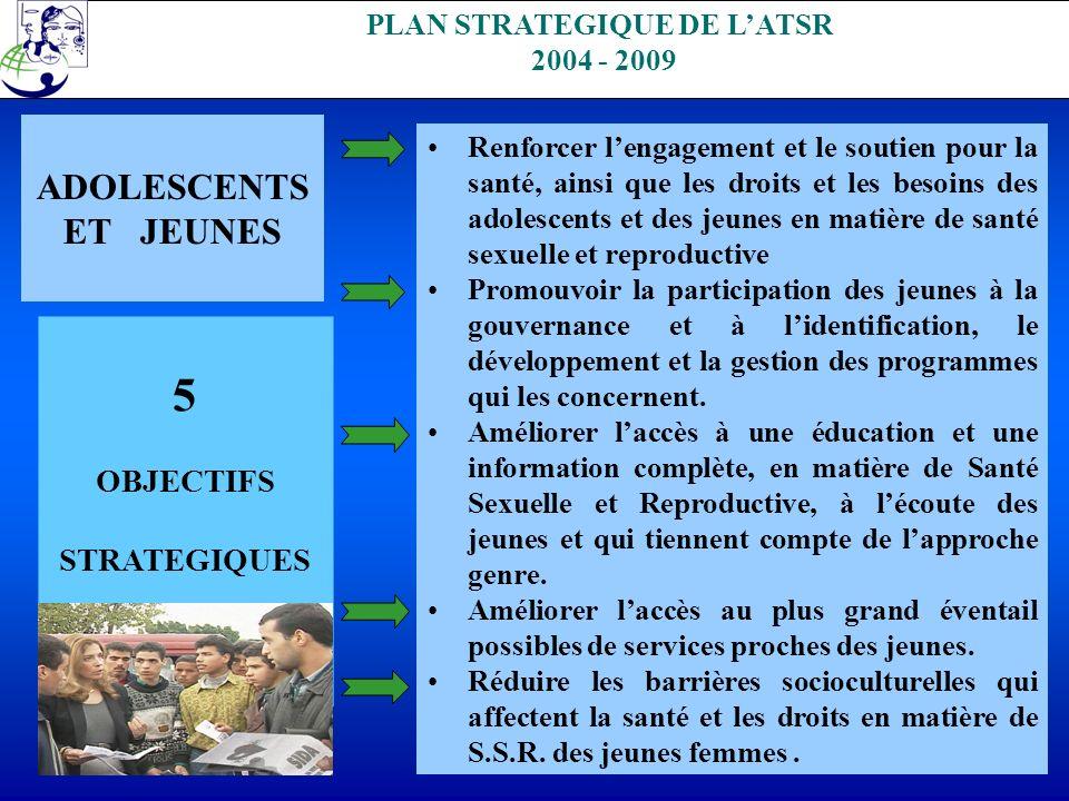 . PLAN STRATEGIQUE DE LATSR 2004 - 2009 ADOLESCENTS ET JEUNES 5 OBJECTIFS STRATEGIQUES Renforcer lengagement et le soutien pour la santé, ainsi que le