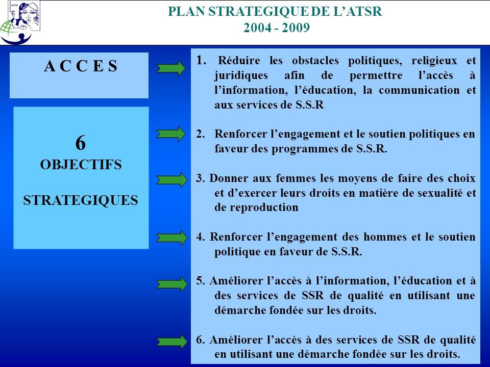 . PLAN STRATEGIQUE DE LATSR 2004 - 2009 A C C E S 6 OBJECTIFS STRATEGIQUES 1. Réduire les obstacles politiques, religieux et juridiques afin de permet