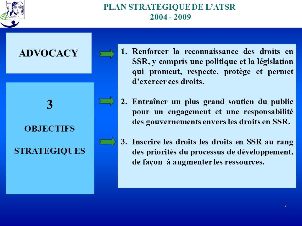 PLAN STRATEGIQUE DE LATSR 2004 - 2009 ADVOCACY 3 OBJECTIFS STRATEGIQUES 1.Renforcer la reconnaissance des droits en SSR, y compris une politique et la législation qui promeut, respecte, protège et permet dexercer ces droits.