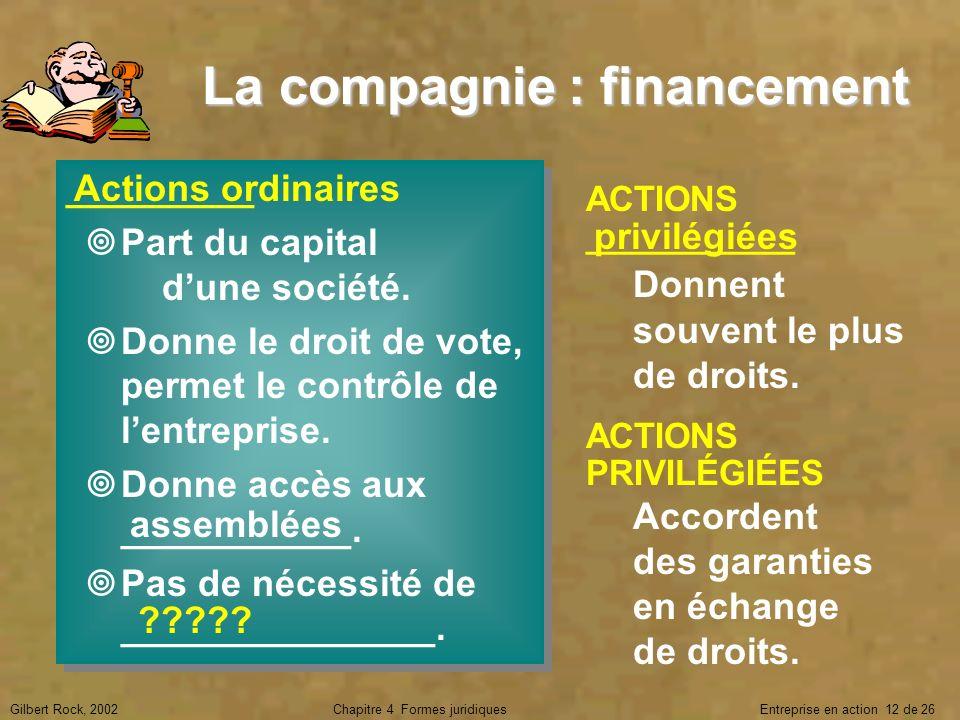 Gilbert Rock, 2002Chapitre 4 Formes juridiques Entreprise en action 12 de 26 La compagnie : financement _________ Part du capital dune société. Donne
