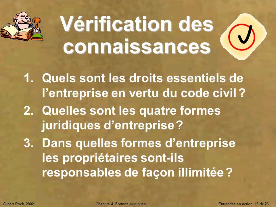 Gilbert Rock, 2002Chapitre 4 Formes juridiques Entreprise en action 16 de 26 Vérification des connaissances 1.Quels sont les droits essentiels de lent