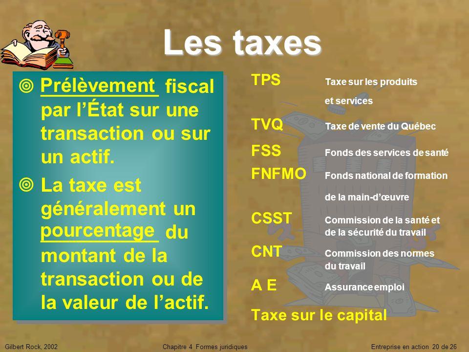 Gilbert Rock, 2002Chapitre 4 Formes juridiques Entreprise en action 20 de 26 Les taxes ___________ fiscal par lÉtat sur une transaction ou sur un acti