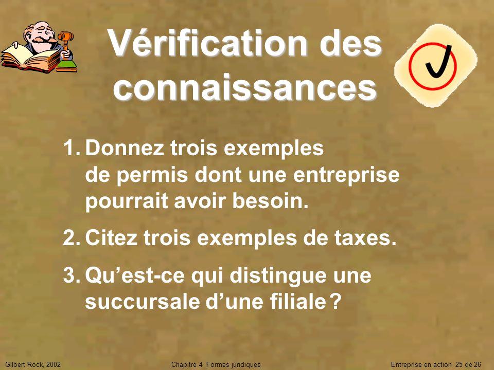 Gilbert Rock, 2002Chapitre 4 Formes juridiques Entreprise en action 25 de 26 Vérification des connaissances 1.Donnez trois exemples de permis dont une