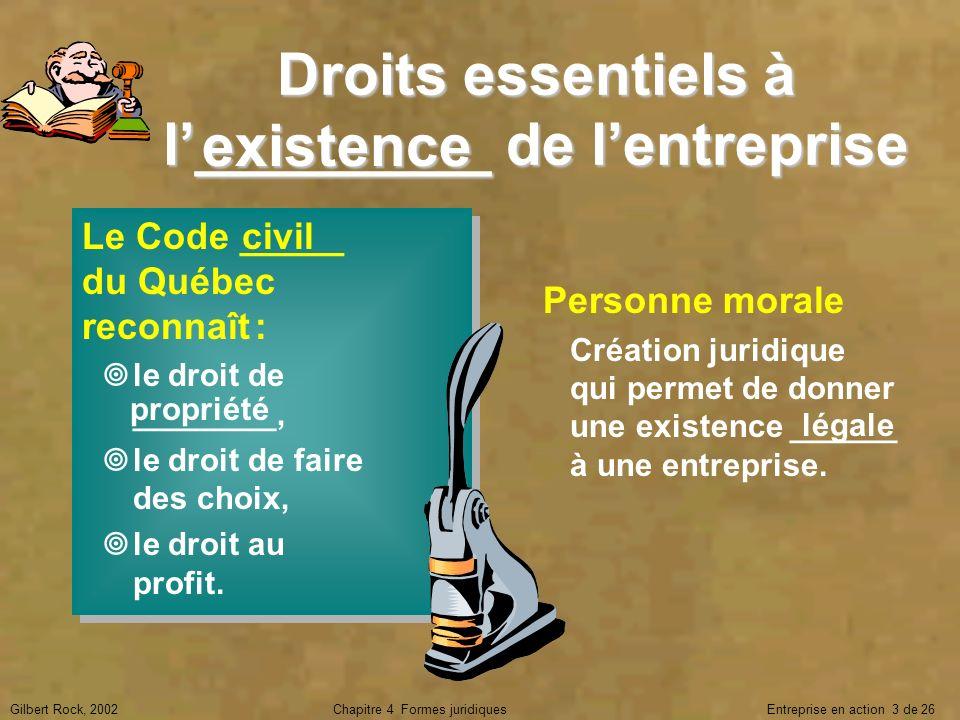 Gilbert Rock, 2002Chapitre 4 Formes juridiques Entreprise en action 3 de 26 Droits essentiels à l_________ de lentreprise Le Code _____ du Québec reco