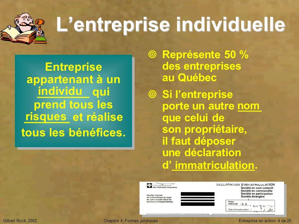 Gilbert Rock, 2002Chapitre 4 Formes juridiques Entreprise en action 4 de 26 Lentreprise individuelle Entreprise appartenant à un ________ qui prend to