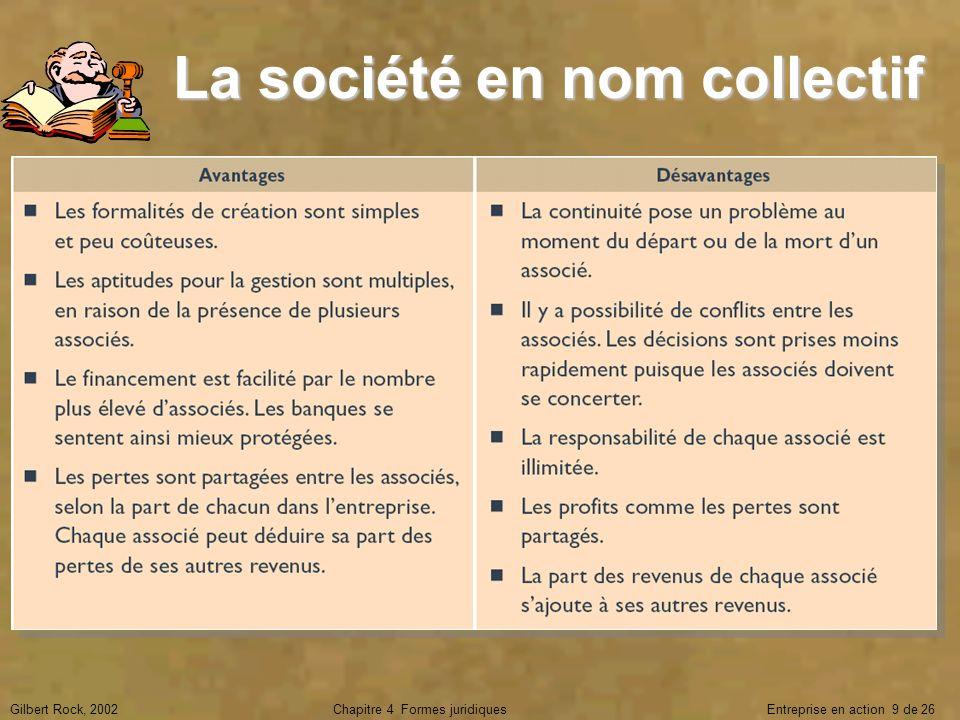 Gilbert Rock, 2002Chapitre 4 Formes juridiques Entreprise en action 9 de 26 La société en nom collectif