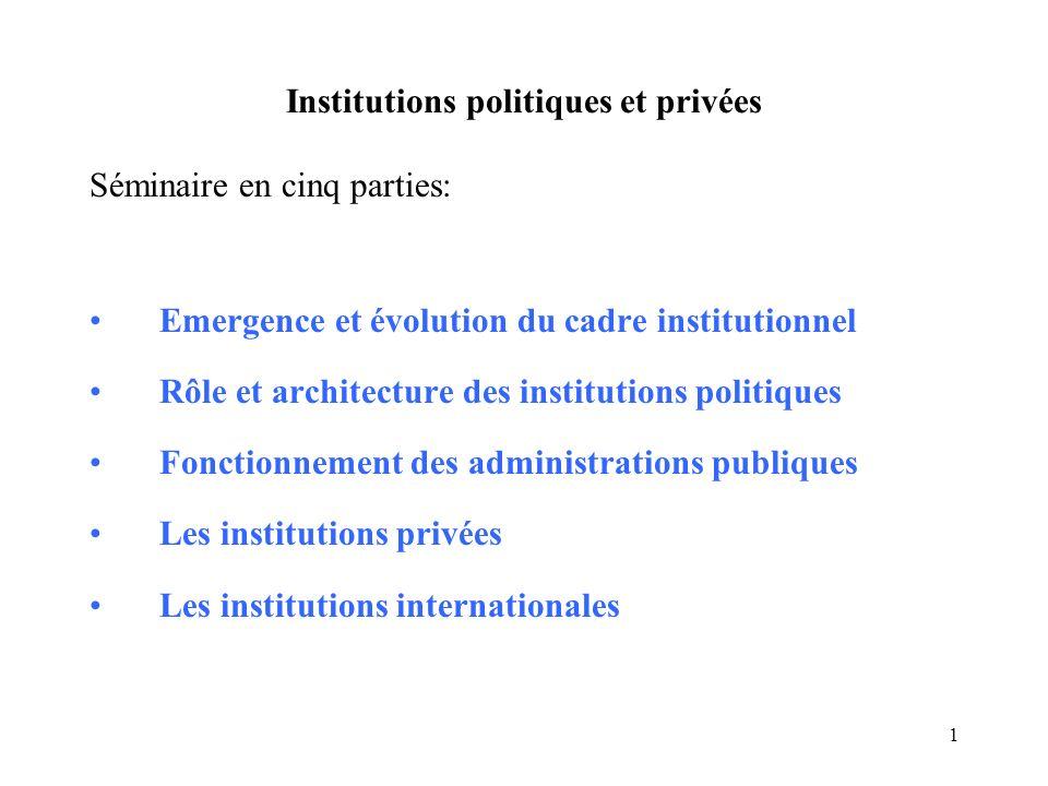 1 Institutions politiques et privées Séminaire en cinq parties: Emergence et évolution du cadre institutionnel Rôle et architecture des institutions p