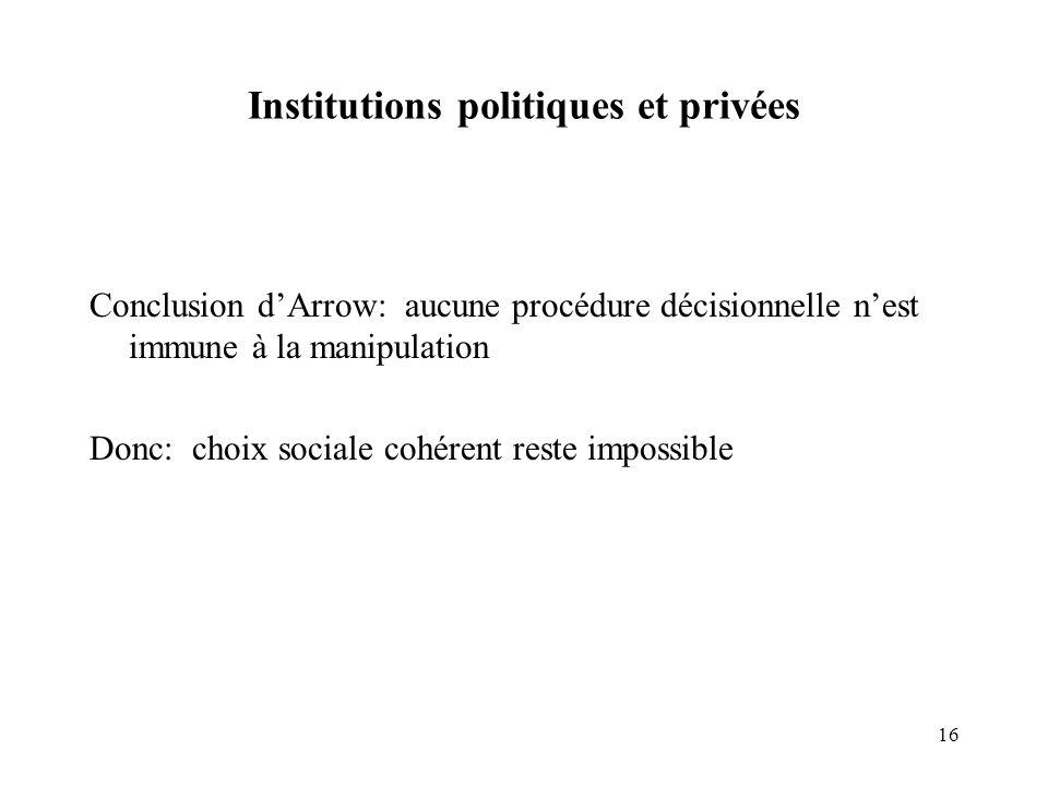 16 Institutions politiques et privées Conclusion dArrow: aucune procédure décisionnelle nest immune à la manipulation Donc: choix sociale cohérent res
