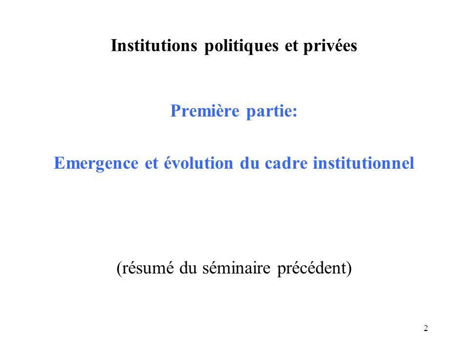 3 Institutions politiques et privées Conditions pour une économie de marché: Etat avec monopole sur la violence Décentralisation du pouvoir décisionnel Contraintes sur lexpropriation (état contractuel)