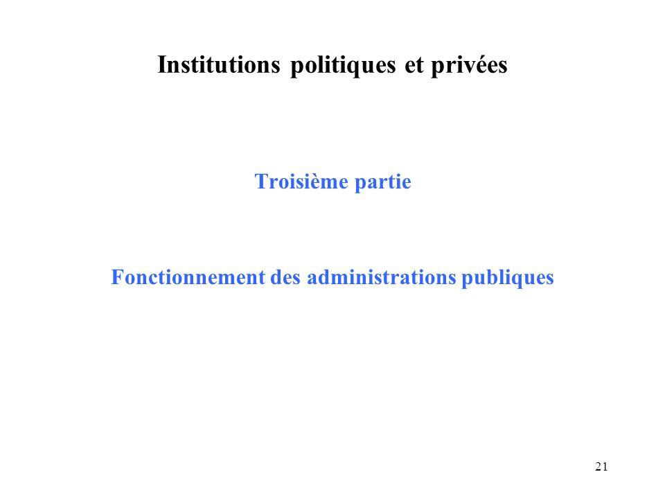 21 Institutions politiques et privées Troisième partie Fonctionnement des administrations publiques